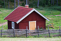 A little shed on the grounds. The original location where Astrid Lindgren's story of Emil in Lonneberga (Emil get's into mischief') was filmed. Katthult Smaland region. Sweden, Europe.