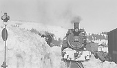 D&amp;RGW #489 in snow cut at Cumbres station, head-on view at west wye switch.<br /> D&amp;RGW  Cumbres, CO  Taken by Peyton, Ernie S. - 3/1948