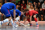 Mannheim, Germany, January 18: During the 1. Bundesliga Herren Hallensaison 2014/15 Sued hockey match between Mannheimer HC (blue) and TSV Mannheim (red) on January 18, 2015 at Irma-Roechling-Halle in Mannheim, Germany. Final score 4-6 (4-4). (Photo by Dirk Markgraf / www.265-images.com) *** Local caption *** Jonathan Ehling #9 of Mannheimer HC, Paul Kaufmann #11 of TSV Mannheim