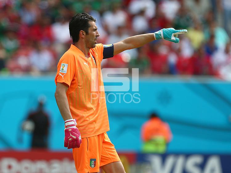 f2b97b652b1 ... Italy goalkeeper Gianluigi Buffon wearing odd coloured Puma goalkeeping  gloves ...