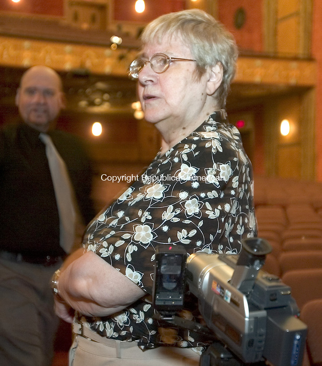 TORRINGTON, CT. 18 August 2008-081808SV05-- Cassandra  Messsinger of Shekinah Paranormal Investigations waits with her camera for an night of investigation at the Warner Theatre in Torrington.<br /> Steven Valenti Republican-American