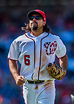 30 July 2017: Washington Nationals third baseman Anthony Rendon returns to the dugout during a game against the Colorado Rockies at Nationals Park in Washington, DC. The Rockies defeated the Nationals 10-6 in the second game of their 3-game weekend series. Mandatory Credit: Ed Wolfstein Photo *** RAW (NEF) Image File Available ***