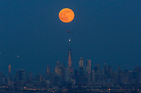 EAGLE ROCK, NJ - JUNE 09: The Strawberry Moon rises over lower Manhattan and One World Trade Center on June 06, 2017 in Montclair, New Jersey. Photo by VIEWpress/Kena Betancur