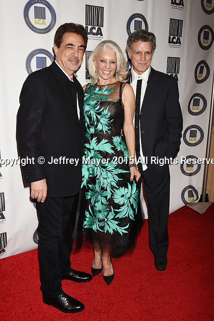 BEVERLY HILLS, CA - OCTOBER 24: (L-R) Actors Joe Mantegna, Shera Danese Falk and Last Chance for Animals president & founder Chris DeRose attend the Last Chance for Animals Benefit Gala at The Beverly Hilton Hotel on October 24, 2015 in Beverly Hills, California.