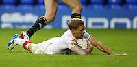 PICTURE BY VAUGHN RIDLEY/SWPIX.COM - Rugby League - 2013 International Origin - England v Exiles - Halliwell Jones Stadium, Warrington, England - 14/06/13 - England's Sam Tomkins scores a try.