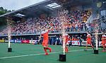 Den Bosch  - Lars Balk (Ned) , Mink van der Weerden (Ned) , Jelle Galema (Ned)  , Mirco Pruijser (Ned)   betreden  het veld voor   de Pro League hockeywedstrijd heren, Nederland-Belgie (4-3).    COPYRIGHT KOEN SUYK
