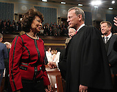 Secretary of Transportation Elaine Chao (L) and Chief Justice John Roberts (R) arrive for US President Donald J. Trump's first address to a joint session of Congress from the floor of the House of Representatives in Washington, DC, USA, 28 February 2017.  Traditionally the first address to a joint session of Congress by a newly-elected president is not referred to as a State of the Union.<br /> Credit: Jim LoScalzo / Pool via CNP