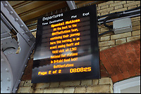BNPS.co.uk (01202 558833)<br /> Pic: AllTheStations/BNPS<br /> <br /> A message from South Eastern trains.<br /> <br /> A pair of railway enthusiasts are on an epic train journey to become the first people to visit every station in Britain. <br /> <br /> Eccentrics Geoff Marshall, 44, and Vicki Pipe, 34, are three weeks into the adventure, which will see them visit 2,563 stations in just three months. <br /> <br /> The couple of seven years from London began in Penzance and have already visited 750 stations, covering the entire South, South West and much of London. <br /> <br /> After visiting an average of 30 stations per day their trip will conclude in August in Thurso, the British mainland's most northernmost town.