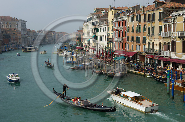 Venice-Italy - March 27, 2010 -- Traffic on Grand Canal / Canal Grande (not: Canale Grande) with gondolas and motor boats, seen from Rialto Bridge -- infrastructure, transport, water, tourism -- Photo: Horst Wagner / eup-images