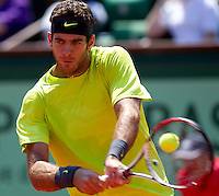 JUAN MARTIN DEL POTRO (ARG) ..Tennis - Grand Slam - French Open- Roland Garros - Paris - Sat May 26th 2012..© AMN Images, 30, Cleveland Street, London, W1T 4JD.Tel - +44 20 7907 6387.mfrey@advantagemedianet.com.www.amnimages.photoshelter.com.www.advantagemedianet.com.www.tennishead.net