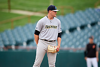 Trenton Thunder relief pitcher Jordan Foley (30) looks in for the sign during the first game of a doubleheader against the Bowie Baysox on June 13, 2018 at Prince George's Stadium in Bowie, Maryland.  Trenton defeated Bowie 4-3.  (Mike Janes/Four Seam Images)