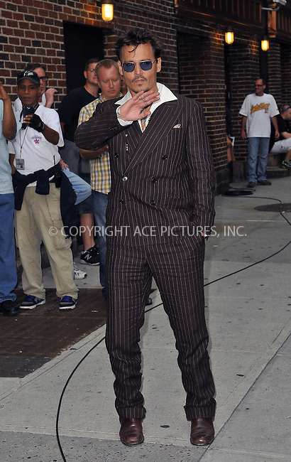 WWW.ACEPIXS.COM<br /> <br /> June 25 2013, New York City<br /> <br /> Actor Johnny Depp made an appearance at the Late Show with David Letterman on June 25 2013 in New York City<br /> <br /> By Line: Romeo/ACE Pictures<br /> <br /> <br /> ACE Pictures, Inc.<br /> tel: 646 769 0430<br /> Email: info@acepixs.com<br /> www.acepixs.com