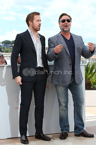 Ryan Gosling, Russell Crowe at 'The Nice Guys' photocall during the 69th Cannes International Film Festival on May 15th, 2016.<br /> CAP/GOL<br /> &copy;GOL/Capital Pictures /MediaPunch ***NORTH AMERICA AND SOUTH AMERICA ONLY***