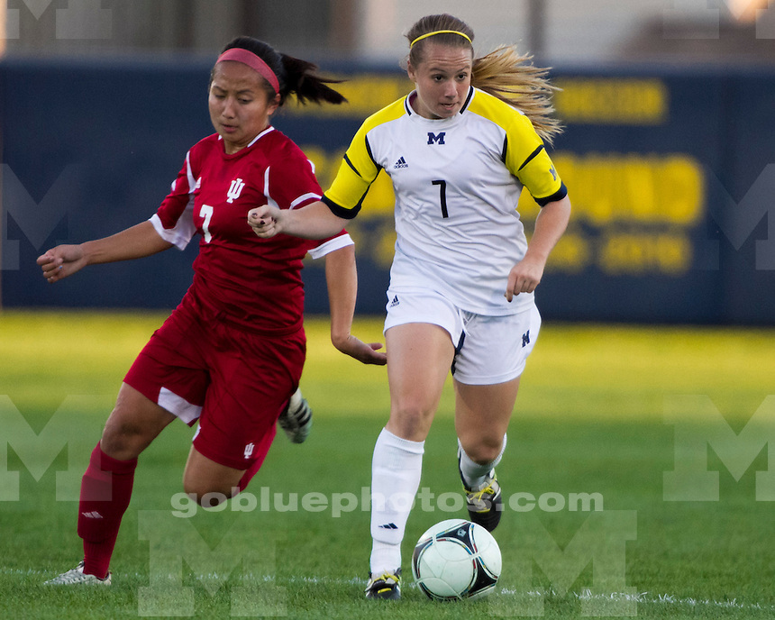The University of Michigan women's soccer team beat Indiana, 3-0, at the UM Soccer Stadium in Ann Arbor, Mich., on September 15, 2012.