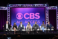 """BEVERLY HILLS - AUGUST 1:  Executive Producer/Creator Marc Cherry, Lucy Liu, Jack Davenport, Ginnifer Goodwin, Sam Jaeger, Kirby Hoewll-Baptiste, Reid Scott onstage during the """"Why Women Kill"""" panel at the CBS All Access portion of the Summer 2019 TCA Press Tour at the Beverly Hilton on August 1, 2019 in Los Angeles, California. (Photo by Frank Micelotta/PictureGroup)"""