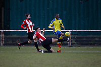 Ralston Gabriel of Haringey Borough is thwarted by a great defensive challenge from Nathan Cooper of AFC Hornchurch during AFC Hornchurch vs Haringey Borough, Bostik League Division 1 North Football at Hornchurch Stadium on 10th February 2018