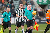 Referee Philp Gibbs leaves the field at half time with Peter Hartley of Plymouth Argyle during the Sky Bet League 2 match between Plymouth Argyle and Wycombe Wanderers at Home Park, Plymouth, England on 30 January 2016. Photo by Mark  Hawkins / PRiME Media Images.