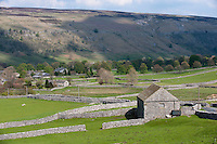 Limestone barns and walls, Arncliffe, North Yorkshire.
