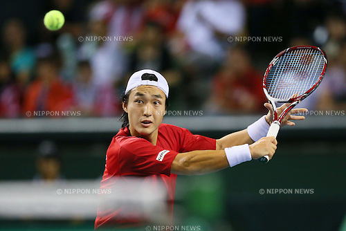 Go Soeda (JPN), SEPTEMBER 13, 2013 - Tennis : Davis Cup 2013 by BNP Paribas World Group Play-off second singles game, Japan 2-3 Columbia at Ariake Coliseum, Tokyo, Japan. (Photo by Yusuke Nakanishi/AFLO SPORT) [1090]