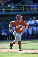 Zane Gurwitz (50) of the Texas Longhorns runs to first base during a game against the UCLA Bruins at Jackie Robinson Stadium on March 12, 2016 in Los Angeles, California. UCLA defeated Texas, 5-4. (Larry Goren/Four Seam Images)