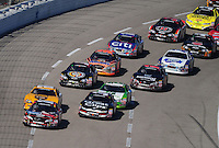 Nov. 7, 2009; Fort Worth, TX, USA; NASCAR Nationwide Series driver Kyle Busch leads the field during the O'Reilly Challenge at the Texas Motor Speedway. Mandatory Credit: Mark J. Rebilas-