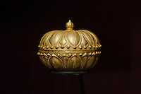 Golden betel leaf container with Garuda motives on display in the Southeast Gold Museum that presents hundreds of golden artifacts from the private collection of founder Istvan Zelnik in Budapest, Hungary on September 15, 2011. ATTILA VOLGYI