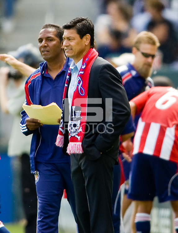 Chivas USA head coach Martin Vasquez looking a like a first game winner. Chivas USA defeated the Red Bulls of New York 2-0 at Home Depot Center stadium in Carson, California April 10, 2010.  .