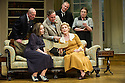 Bath, UK. 17.06.2013. RELATIVE VALUES, by Noel Coward, opens the 2013 summer season at the Theatre Royal Bath. Picture shows: Timothy Kightley (Admiral Sir John Hayling), Amanda Boxer (Lady Cynthia Hayling),  Steven Pacey (Peter Ingleton), Rory Bremner (Crestwell), Patricia Hodge (Felicity, Countess of Marshwood), Caroline Quentin (Moxie, the housemaid). Photograph © Jane Hobson.
