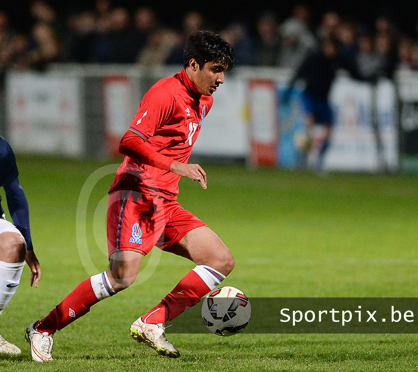 20150326 - SAINT-LO , FRANCE  : Azerbaijan Gismat Aliyev pictured during the soccer match between Under 19 teams of France and Azerbaijan , on the first matchday in group 7 of the UEFA Elite Round Under 19 at stade Louis Villemer , Saint-Lo France . Thursday 26 rd  March 2015 . PHOTO DAVID CATRY