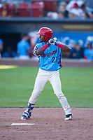 Spokane Indians center fielder Julio Pablo Martinez (27) at bat during a Northwest League game against the Vancouver Canadians at Avista Stadium on September 2, 2018 in Spokane, Washington. The Spokane Indians defeated the Vancouver Canadians by a score of 3-1. (Zachary Lucy/Four Seam Images)
