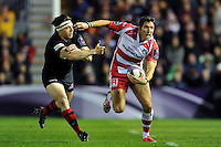 James Hook of Gloucester Rugby goes on the attack. European Rugby Challenge Cup Final, between Edinburgh Rugby and Gloucester Rugby on May 1, 2015 at the Twickenham Stoop in London, England. Photo by: Patrick Khachfe / Onside Images
