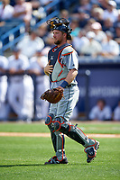 Detroit Tigers catcher Bryan Holaday (50) during a Spring Training game against the New York Yankees on March 2, 2016 at George M. Steinbrenner Field in Tampa, Florida.  New York defeated Detroit 10-9.  (Mike Janes/Four Seam Images)