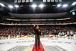 ST PAUL, MN - APRIL 7: University of Minnesota alumnus John Mayasich receives an ovation prior to dropping the ceremonial puck during the Division I Men's Ice Hockey Championship held at the Xcel Energy Center on April 7, 2018 in St Paul, Minnesota. (Photo by Tim Nwachukwu/NCAA Photos via Getty Images)