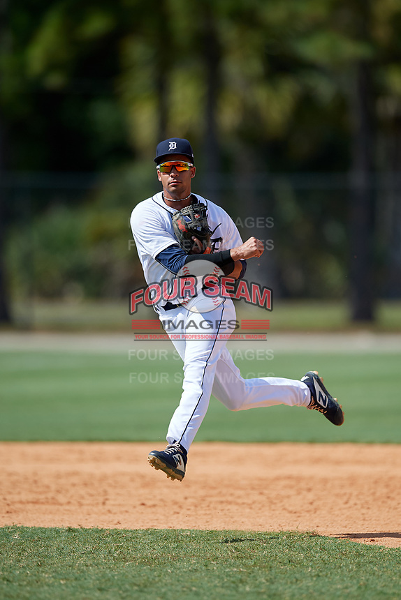 Detroit Tigers shortstop Yerjeni Perez (83) throws to first base during an Instructional League game against the Philadelphia Phillies on September 19, 2019 at Tigertown in Lakeland, Florida.  (Mike Janes/Four Seam Images)