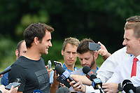 January 29, 2018: The 2018 Australian Open champion Roger Federer of Switzerland speaks to the media after posing for photographs with his trophy at Government House in Melbourne, Australia. Federer beat Cilic 3 sets to 2. Photo Sydney Low