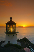 Makapuu pt. lighthouse at sunrise. Located along the southeast coast of oahu.