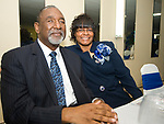 WATERBURY, CT-092317JS10-- Pastor Roland Johnson and his wife Melba Johnson at the Refuge Church of Christ's 70th anniversary banquet held at the church in Waterbury. <br />  Jim Shannon Republican-American