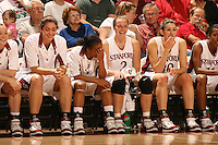 25 February 2006: Morgan Clyburn, Markisha Coleman, Krista Rappahahn, Brooke Smith during Stanford's 78-47 win over the Washington State Cougars at Maples Pavilion in Stanford, CA.
