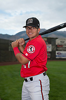 Billings Mustangs infielder Dylan Harris (27) poses for a photo prior to a Pioneer League game against the Ogden Raptors at Lindquist Field on August 17, 2018 in Ogden, Utah. The Billings Mustangs defeated the Ogden Raptors by a score of 6-3. (Zachary Lucy/Four Seam Images)