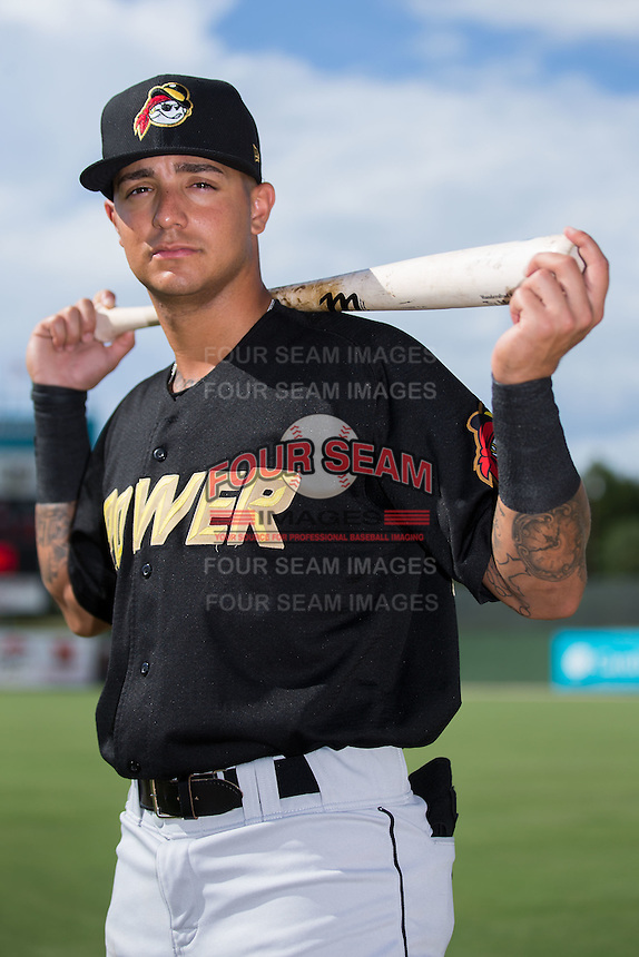 West Virginia Power shortstop Stephen Alemais (38) poses for a photo prior to the game against the Kannapolis Intimidators at Kannapolis Intimidators Stadium on August 21, 2016 in Kannapolis, North Carolina.  The game was suspended due to wet grounds with the score tied 1-1.  (Brian Westerholt/Four Seam Images)