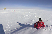 Physicist Katherine Rawlins looks out over the vast desolation surrounding Amundsen-Scott South Pole Station.