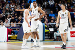 Sergio Llull, Anthony Randolph and Jaycee Carroll of Real Madrid during Turkish Airlines Euroleague match between Real Madrid and FC Barcelona Lassa at Wizink Center in Madrid, Spain. December 13, 2018. (ALTERPHOTOS/Borja B.Hojas)