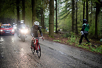 Julien Bernard (FRA/Trek-Segafredo) is the last survivor of the early breakaway as he conquers the Côte de Wanne alone<br /> <br /> 105th Liège-Bastogne-Liège 2019 (1.UWT)<br /> One day race from Liège to Liège (256km)<br /> <br /> ©kramon