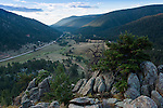View down the Little Big Thompson valley and Hwy 36, morning in the Rocky Mountains near Estes Park, Colorado, USA