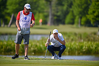 Ross Fisher (ENG) lines up his putt on 17 during Round 2 of the Zurich Classic of New Orl, TPC Louisiana, Avondale, Louisiana, USA. 4/27/2018.<br /> Picture: Golffile | Ken Murray<br /> <br /> <br /> All photo usage must carry mandatory copyright credit (&copy; Golffile | Ken Murray)
