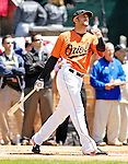 21 May 2007: Baltimore Orioles outfielder Nick Markakis watches the ball sail over the fences in the pre-game Home Run Derby at Doubleday Field prior to Baseball's Annual Hall of Fame Game in Cooperstown, NY. Markakis hit 5 homers in the first round of competition, but needed 6 to make it to the second round of the event...Mandatory Credit: Ed Wolfstein Photo