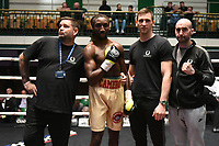 Jumanne Camero (gold shorts) defeats Kris Pilkington during a Boxing Show at York Hall on 7th September 2019