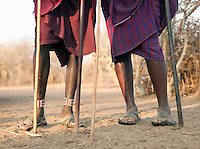 Maasai tribesmen with their walking sticks, Tipilit village near Amboseli National Park, Kenya
