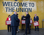 © Joel Goodman - 07973 332324 . 16/06/2016 . Manchester , UK .  Gordon Brown talking to Joe Anderson ahead of a photocall with Joe Anderson , Joyce McCarty , Paulette Hamilton , Labour Shadow Chancellor , John McDonnell MP , Lucy Powell MP, former Labour Prime Minister , Gordon Brown , Mazher Iqbal and Sir Richard Leese , ahead of a speech by McDonnell and Brown at a Labour IN campaign event at the Union at the University of Manchester . Photo credit : Joel Goodman