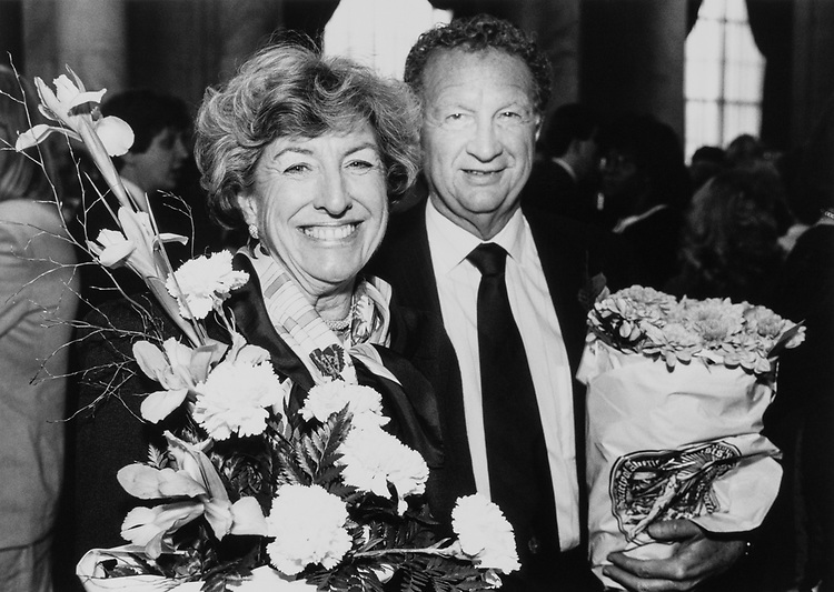 Rep. Robert J. Lagomarsino, R-Calif. with his wife holding bouquet of flowers on April 17, 1989. (Photo by Andrea Mohin/CQ Roll Call)